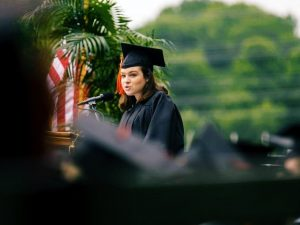 photo of me speaking at graduation